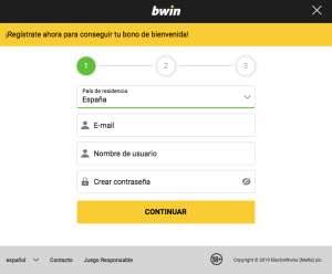 Registrarse en Bwin